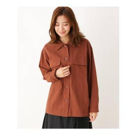 ゆったりワークシャツジャケット (ダークブラウン(043))
