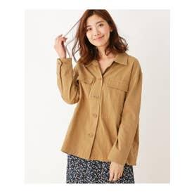 ゆったりワークシャツジャケット (ベージュ(052))