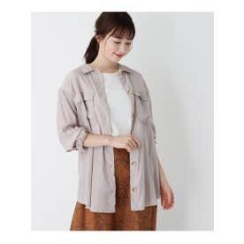 【WEB限定LLサイズあり】Wポケットサテンシャツ (ライトグレー)