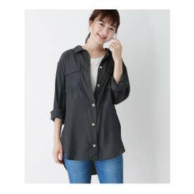 【WEB限定LLサイズあり】Wポケットサテンシャツ (チャコールグレー)