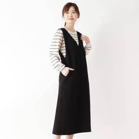【WEB限定LLサイズあり】【セット】ニット付きジャンパースカート (ブラック×ボーダー)