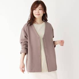 【M-LL】シンプルVネックジャケット (ブラウンベージュ)