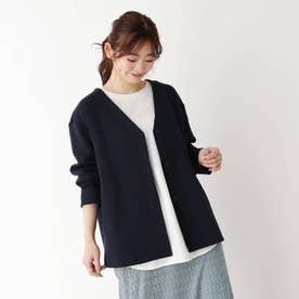 【M-LL】シンプルVネックジャケット (ネイビー)