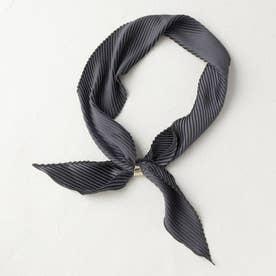 【リング付き】プリーツサテン スカーフ (ダークグレー)