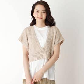 【M-L/SET】【洗える】透かし編みビスチェ+Tシャツセット (アイボリー)