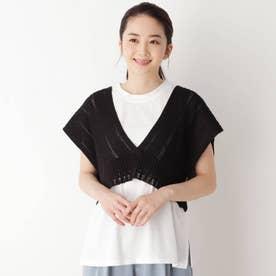 【M-L/SET】【洗える】透かし編みビスチェ+Tシャツセット (ブラック)