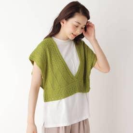 【M-L/SET】【洗える】透かし編みビスチェ+Tシャツセット (ライトグリーン)