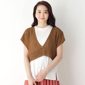 【M-L/SET】【洗える】透かし編みビスチェ+Tシャツセット (ブラウン)