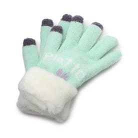 ボア付きハート手袋 (ライトグリーン)