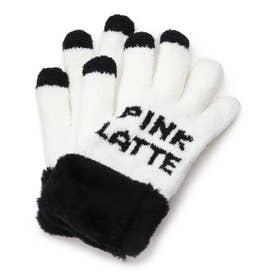 ボア付きロゴ手袋 (アイボリー)
