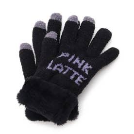 ボア付きロゴ手袋 (ブラック)
