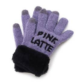 ボア付きロゴ手袋 (ロイヤルパープル)