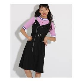 ◆【ニコラコラボ】ワンピース+Tシャツ セット (ブラック(019))