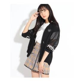 7分袖透けラインブルゾン&Tシャツ (ブラック)