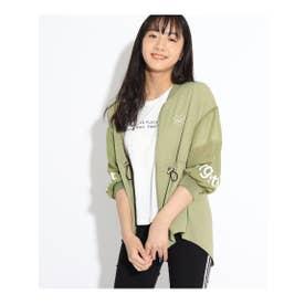 7分袖透けラインブルゾン&Tシャツ (カーキ)