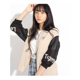 7分袖透けラインブルゾン&Tシャツ (ライトベージュ)