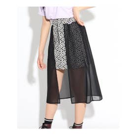 ★ニコラ掲載★シフォンレイヤードスカート (ブラック)