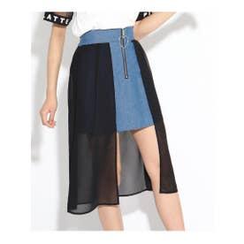★ニコラ掲載★シフォンレイヤードスカート (ブルー)