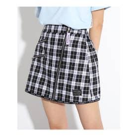 ★ニコラ掲載★ZIP×テープチェック柄スカート (ブラック)