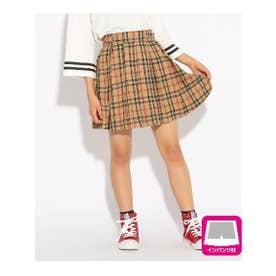 ◆★ニコラ掲載★起毛プリーツ スカート (ベージュチェック(252))