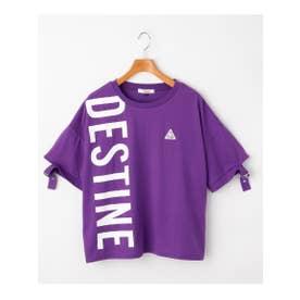 縦ビックロゴTシャツ (パープル)