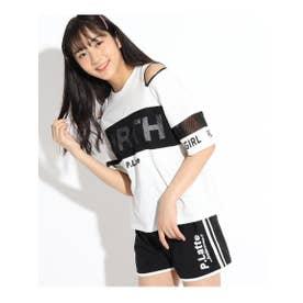 ZIPTシャツ&カットショートパンツSET (オフホワイト)