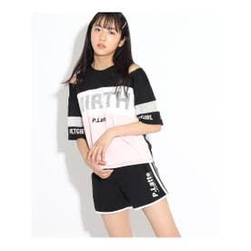 ZIPTシャツ&カットショートパンツSET (ブラック)