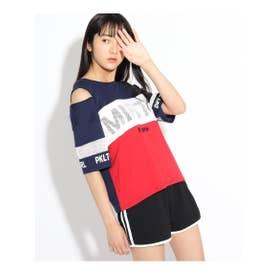 ZIPTシャツ&カットショートパンツSET (ネイビー)