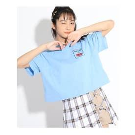 【コットン100%】バックプリントビッグTシャツ (サックス)