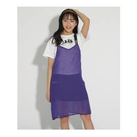 ★ニコラ掲載★シースルーキャミワンピース&Tシャツセット (ロイヤルパープル)