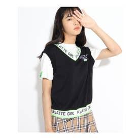 ★ニコラ掲載★ロゴベストフェイクTシャツ (ブラック)