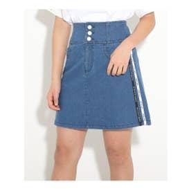 ★ニコラ掲載★ハイウエスト前ボタンスカート (ブルー(492))