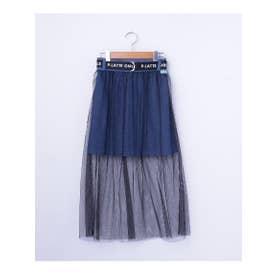 チュールレイヤードスカート (ブルー)