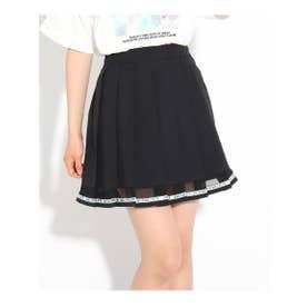 裾透けプリーツスカート (ブラック)
