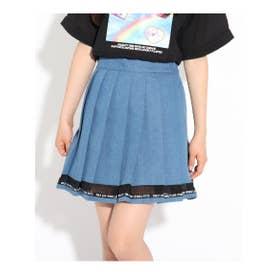 裾透けプリーツスカート (ブルー)