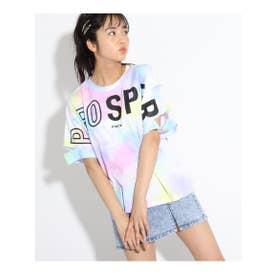 タイダイ柄カットスリーブTシャツ (ベビーピンク)