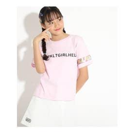 ★ニコラ掲載★【コットン100%】袖ビニールプリントTシャツ (ベビーピンク)