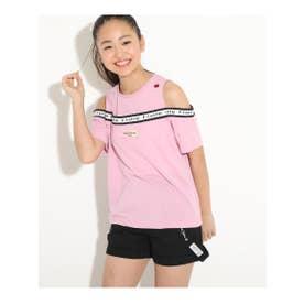 肩あきロゴTシャツ (ベビーピンク)