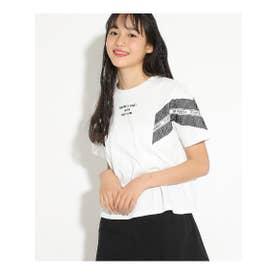 袖メッシュ配色Tシャツ (アイボリー)