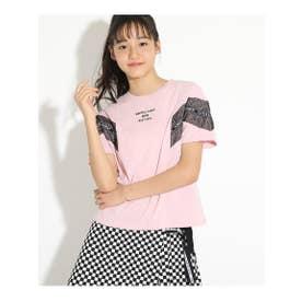 袖メッシュ配色Tシャツ (ピンク)