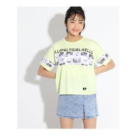 柄ブロッキングTシャツ (イエロー)