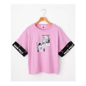 ★ニコラ掲載★袖リング切り替え転写プリントTシャツ (ライトパープル)
