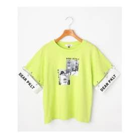 ★ニコラ掲載★袖リング切り替え転写プリントTシャツ (イエローグリーン)