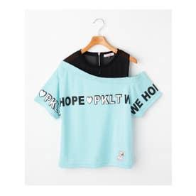 透けワンショル胸ロゴTシャツ (ライトグリーン)