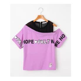 透けワンショル胸ロゴTシャツ (ロイヤルパープル)