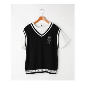 フェイクレイヤードベストTシャツ (ブラック)