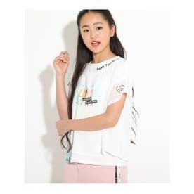 ★ニコラ掲載★シフォン重ねワンショル転写Tシャツ (オフホワイト)