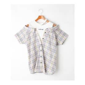 襟カットフェイクレイヤードシャツ (ライトパープル)