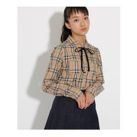 【卒服】胸ロゴリボン付ブラウス (ベージュ)