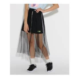 ★ニコラ掲載★チュール重ね台形 スカート (ブラック)